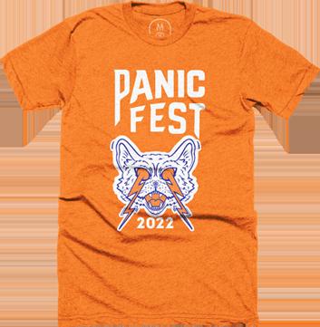 panic fest 2022 shirt cat logo orange